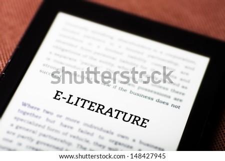 E-literature on ebook, tablet pc concept