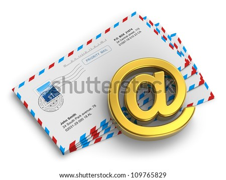 "E-mail and internet messaging concept: group of post mail envelopes and golden ""at"" symbol isolated on white background"