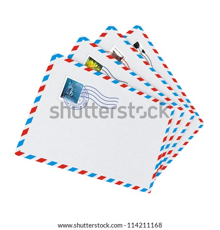 E-mail and Internet Messaging Concept. Some Post Envelopes on White Background.