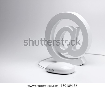E-mail concept, email symbol and computer mouse