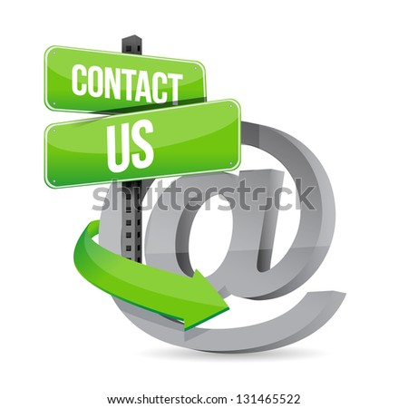 E mail contact us at sign illustration design over white