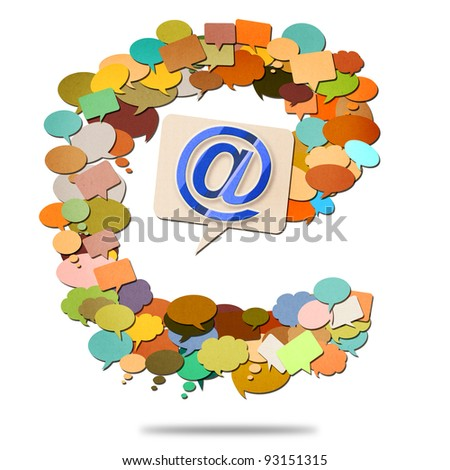 e-mail image, paper talk image created by recycled paper cut isolate on white background