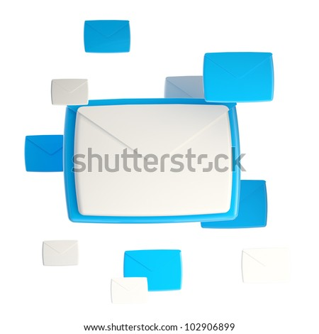 E-mail letter emblem glossy icon isolated on white