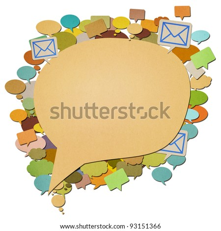 e-mail, paper talk image created by recycled paper cut isolate on white background
