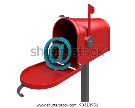 e-mail. Red internet mailbox, isolated. 3d rendered image