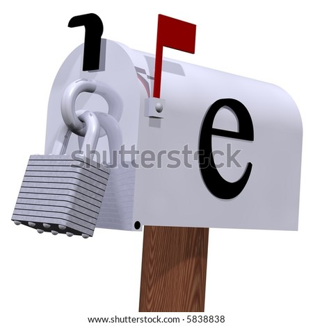 E-mail security isolated on white