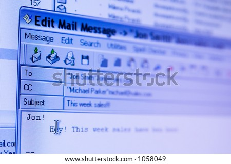 e-mail sending screen (window)