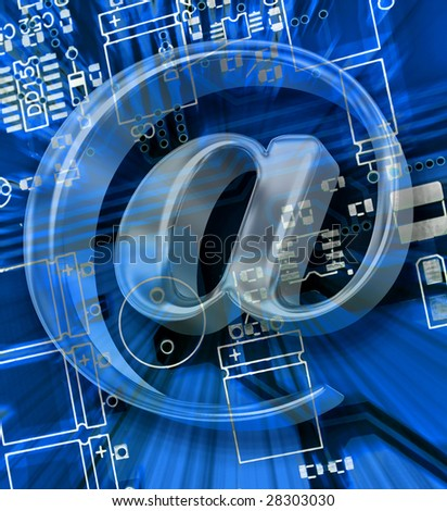 e mail sign on a blue printed circuit board for electronic Blank Circuit Board Material Identify Electronic Components Circuit Board