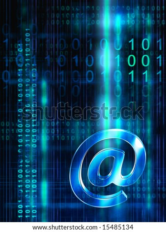 E-mail streams on high technology background. Digital illustration