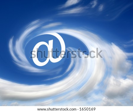 E-mail symbol in clouds
