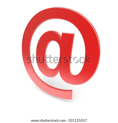 E-mail symbol. Red 'at'. 3d image