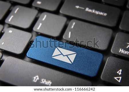 E-mailing Marketing campaign key with mailing envelope icon on laptop keyboard. Included clipping path, so you can easily edit it.