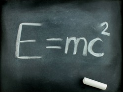 E=mc²  Albert Einsteins physical formula on blackboard