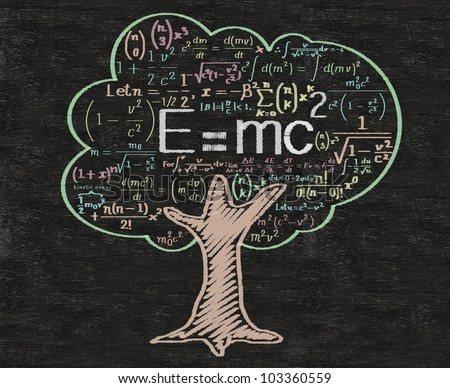e=Mc2 meaning education and learning and words tag cloud written on blackboard background, high resolution, easy to use.
