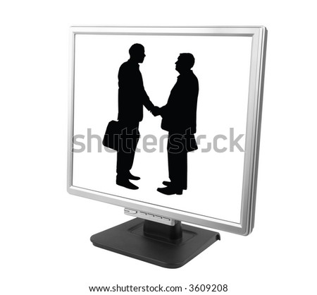 e-partnership (isolated pc screen with businessman made from my images and photo)