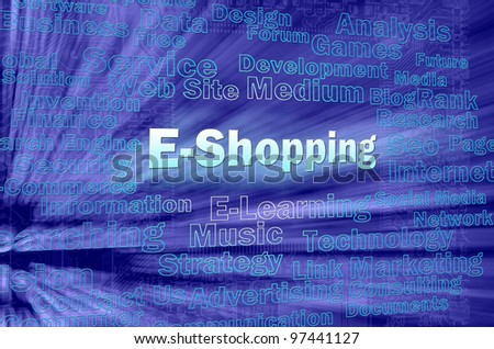 E-shopping concept in blue virtual space with internet related words - stock photo