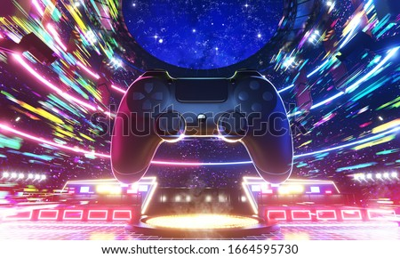 E-sport arena and Game joypad in the speed of colorful light, 3d rendering illustration.
