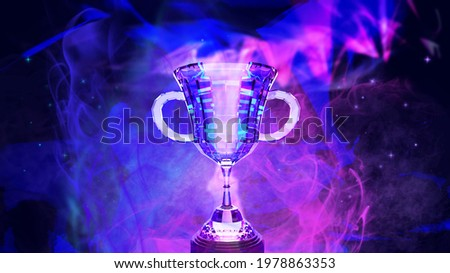 E-sport trophy for online gaming winner with smoke on background abstract futuristic dark blue and violet color theme , 3d rendering picture.  Photo stock ©