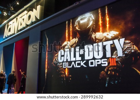 E3; The Electronic Entertainment Expo at the Los Angeles Convention Center, June 16, 2015. Los Angeles, California. Activision\'s booth and demo area for the video game Call of Duty Black Ops.