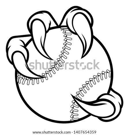Eagle, bird or monster claw or talons holding a baseball ball. Sports graphic. Сток-фото ©