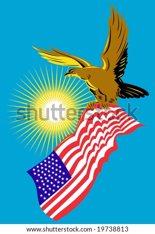 eagle carrying an american flag stock photo 19738813