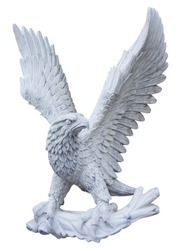 Eagle carved from white marble. Isolated on white close-up