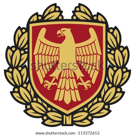 eagle emblem (eagle coat of arms, eagle symbol, eagle badge, eagle shield and laurel wreath)