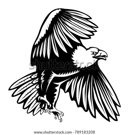 Eagle Emblem Isolated On White Illustration American Symbol Of