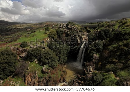 Eagle falls in the winter at the Golan Heights