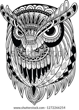 2182f6bdfd67d Eagle owl. Birds. Black white hand drawn doodle. Ethnic patterned  illustration. African