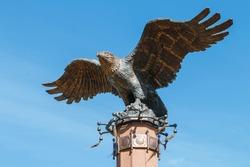eagle statue in the Tazheran steppe near Lake Baikal