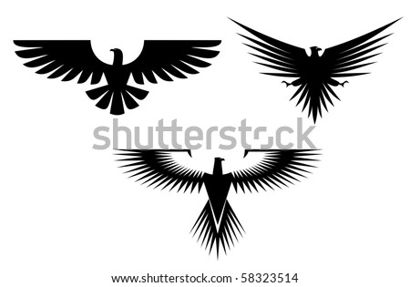 Eagle symbol isolated on white - also as emblem, such a logo. Vector version also available