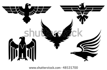 Eagle symbol isolated on white for tattoo design or logo template. Vector version is also available