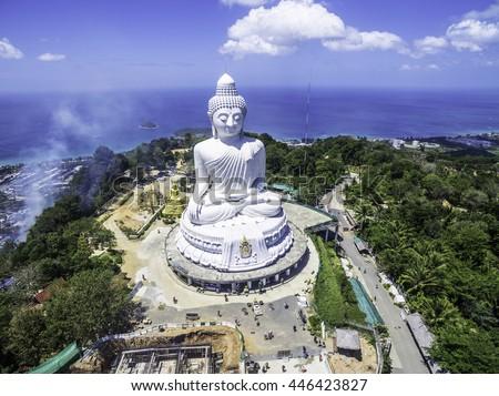 Eagle view on Phuket Big Buddha shot with a drone.