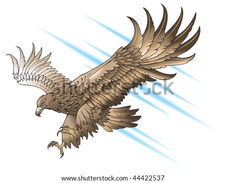 Eagle with large wings, swooping or attacking, gradient fill, raster from vector illustration