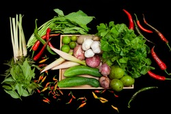 ealthy food clean eating selection: fruit, vegetable,cili and cucumber