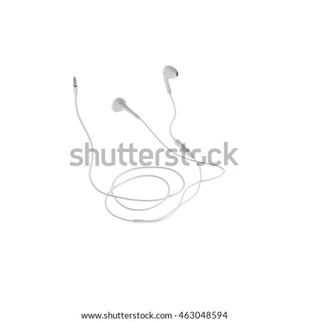 Ear Buds with Remote and Mic 3D Illustration