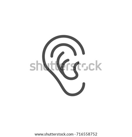 Ear line icon isolated on white