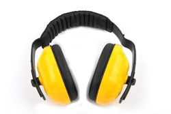 Ear muffs prevent noise from working on a white background.