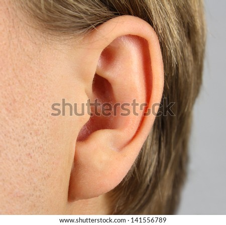 ear of the person(man), closeup