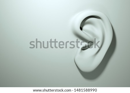 Ear on white surface, concept, modeling. Rumors and eavesdropping. Ear disease and treatment. 3D render Photo stock ©
