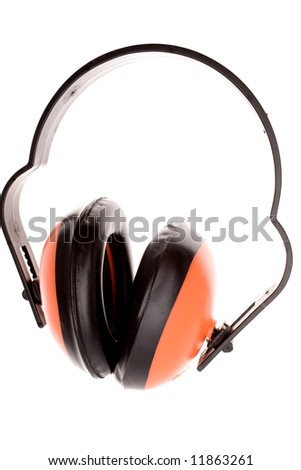 Ear protectors isolated over white - stock photo