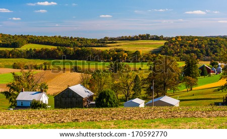 Early autumn view of farms in rural Southern York County, Pennsylvania. #170592770