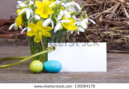 early blossoms, easter eggs  and white card/easter/easter card