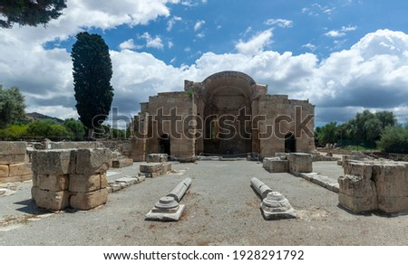 Early Christian Basilica of Agios Titos (6th century AC), a well preserved monument at the ancient town of Gortys (or Gortyna), in Heraklion region, Crete island, Greece, Europe. Stock fotó ©