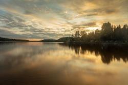Early fall sunset at Hawkeye Lake in Thunder Bay, Ontario