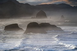 Early foggy morning at the Bay at Ecola State Park near Canon Beach on the Oregon coast