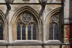 Early Gothic windows at St. Quentin Cathedral, Hasselt in Flanders, Belgium