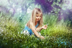 Early in the morning, cute little girl sitting on his haunches in a meadow holding a flower, picking blossom makes a bouquet. A child enjoys life.
