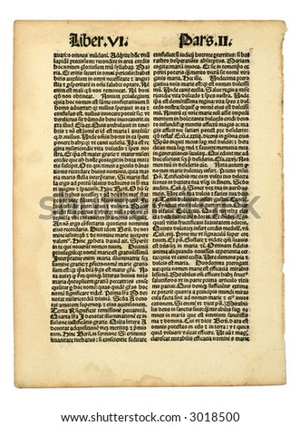 Early Latin printed page, incunabula, dated 1483.